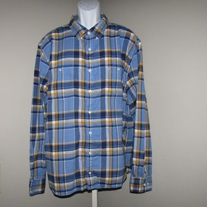 Nautica Classic Fit Flannel Shirt Blue Yellow 3XL